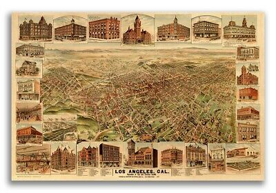 1891 Los Angeles California Vintage Old Panoramic City Map - 20x30