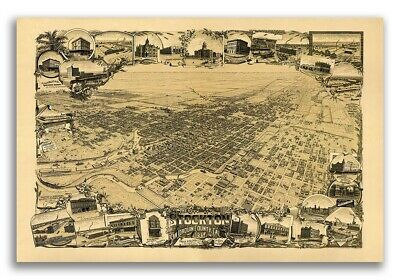 1895 Stockton California Vintage Old Panoramic City Map - 20x30