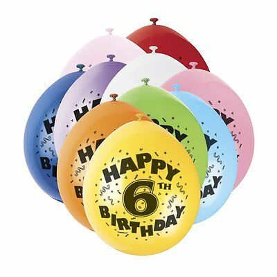 6TH BIRTHDAY BALLOONS - 10  Balloons - AGE 6 BOY or GIRL children's  party