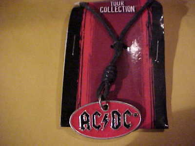 "AC / DC  Leather Necklace ""20 inch"" Enameled"