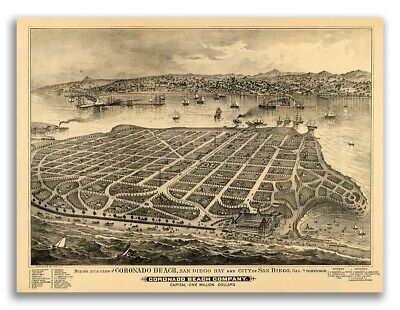Coronado Island California 1880 Historic Panoramic Town Map - 18x24