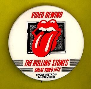 Rolling Stones 1985 Video Rewind badge button pinback w