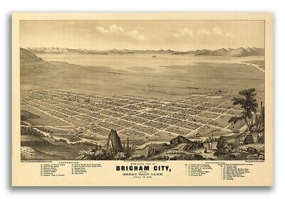 Bird's Eye View 1875 Brigham City Utah Vintage Style City Map - 16x24