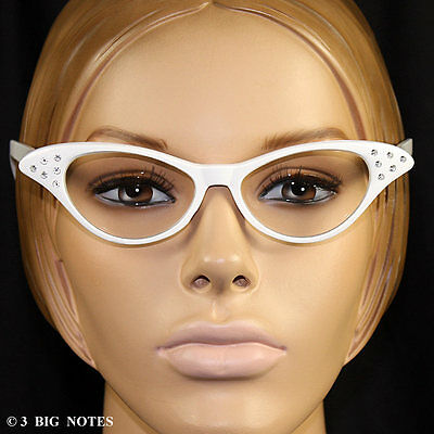 White 50s Retro Cat -Eye Glasses with Rhinestones for Poodle Skirt