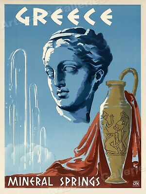 Visit Greece - Mineral Springs Spa - 1953 Vintage Style Travel Poster - 24x32