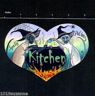 Original Design Siamese Cat Witch Painting Kitchen Sign By Suzanne Le Good