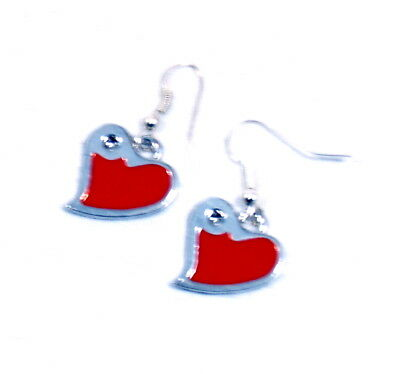 Valentines Red And Silver Heart Earrings