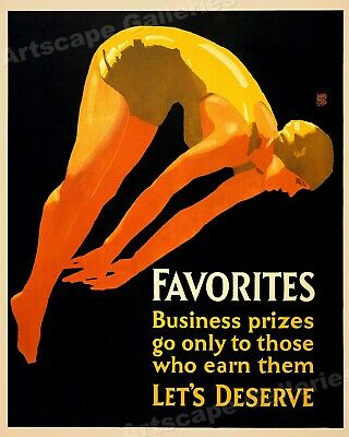 Favorites - 1929 Diving Themed Workplace Motivational Poster - 24x30
