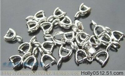 100 pcs Silver plated Pendant Pinch bails 12 mm