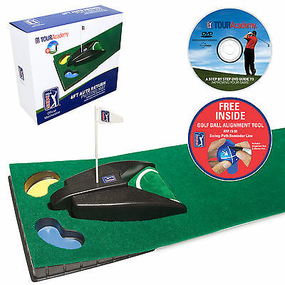PGA TOUR 6ft Auto Return Machine & Putting Mat Golf Aid Training +Alginment tool