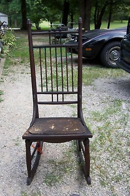 Antique Black Walnut Wood Rocking Chair Leather Seat