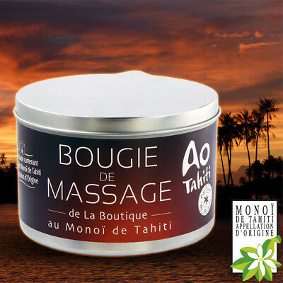 BOUGIE DE MASSAGE AU VERITABLE MONOI DE TAHITI150g - MASSAGE CHAUD -