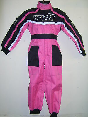 GIRL PINK KIDS 5-6 Yrs WULFSPORT OVERALLS RACE SUIT MOTOCROSS QUAD GO-KARTING