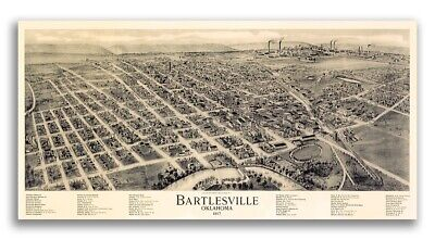 1917 Bartlesville Oklahoma Vintage Old Panoramic City Map - 12x24