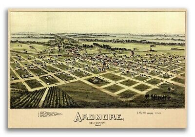 1891 Ardmore Oklahoma Vintage Old Panoramic City Map - 24x36