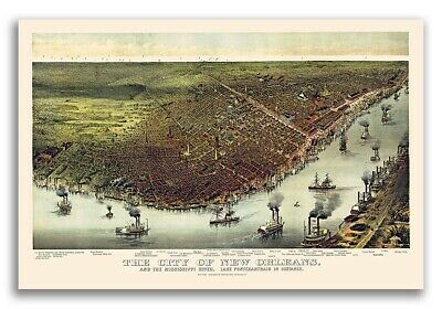 New Orleans Louisiana 1885 Historic Panoramic Map 16x24