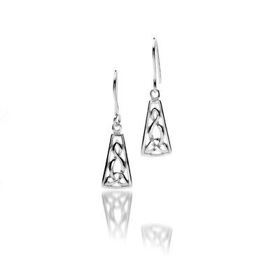 New Silver Celtic Twisted Trinity Knot Earrings In Box