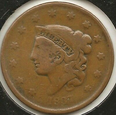 1837 G-VG Coronet Large Cent
