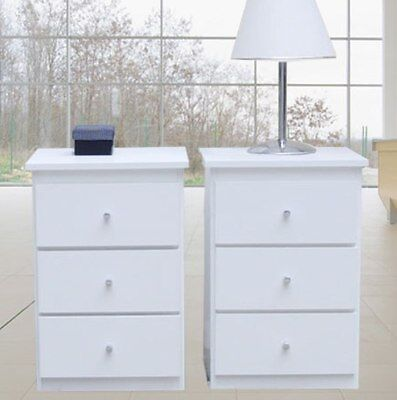 Retro New 2 Bedside Tables Modern in white/3 drawers/cabinet/Del: Syd/Melb/Brisb
