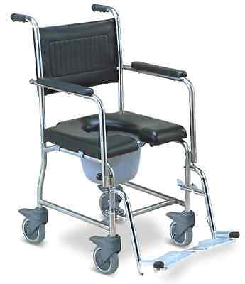 Commode Wheelchair Bedside Toilet & Shower 3-in-1 Chair Made of Stainless Steel