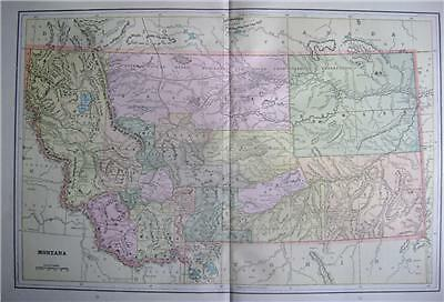 1891 Montana Large Color Map** Idaho & Washington back