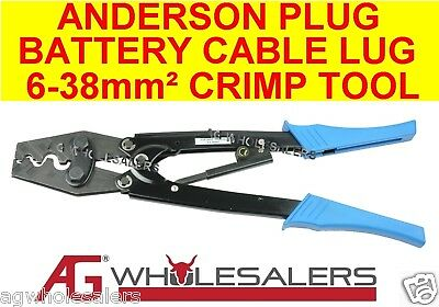 Battery Cable Lug Crimp Tool 6-38mm2 & Anderson Plugs