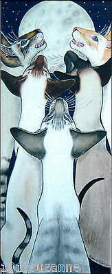 Large Ltd Ed Siamese Cat Painting Print From Original By Suzanne Le Good