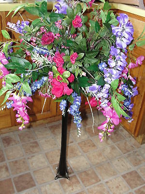 Purple Wisteria Fuschia Pink Vase Silk Flower Bouquet