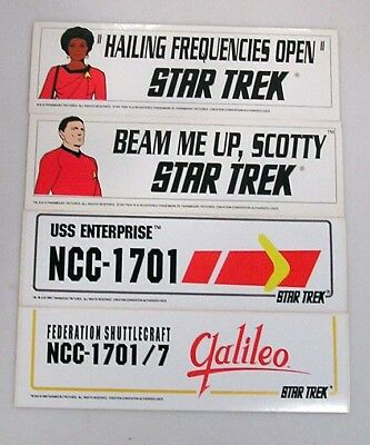 Vintage Set of 4 Classic Star Trek Bumper Sticker-NEW!!