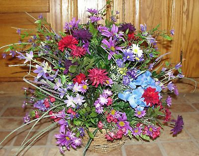 Purple Fuschia Hot Pink Wildflower Silk Flower Spray Bouquet Dining Table Decor