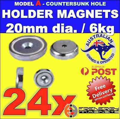 24X Magnetic Countersunk POT Holders 20mm 6kg ideal Xmas Lights