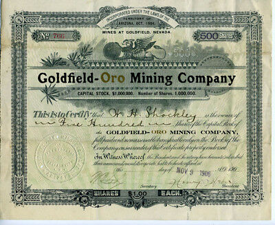 1906 Goldfield Oro Mining Co Stock Certificate NV