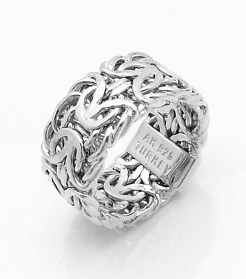 Bold Mirrored Byzantine Band Ring Anti-Tarnish Platinum Clad Sterling Silver