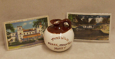 Vintage Arkansas Souvenirs Lot Round Jug  & 2 Postcards