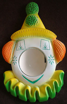 Vintage CLOWN Mirror Chalkware Green Yellow Wall Hanging Nursery Decoration