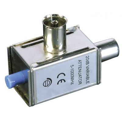Labgear 19114S In-line Metal Variable TV Signal Reducer Attenuator 0 - 20dB