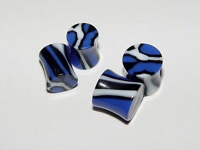 Plugs Pair of Double Flared Acrylic Blue Marble Sizes 00G, 0G, 2G, 4G, 6G, or 8G