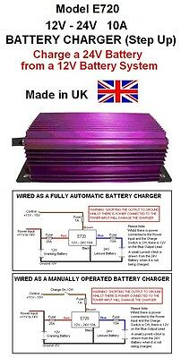 BATTERY CHARGER 12V to 24V 10AMP / 240W DC-DC STEP UP, 12v-24v, (Model E720)