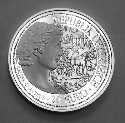 AUSTRIA 20 EURO SILVER PROOF COIN VIRUNUM ROME BOX with AUTHENTICITY CERTIFICATE