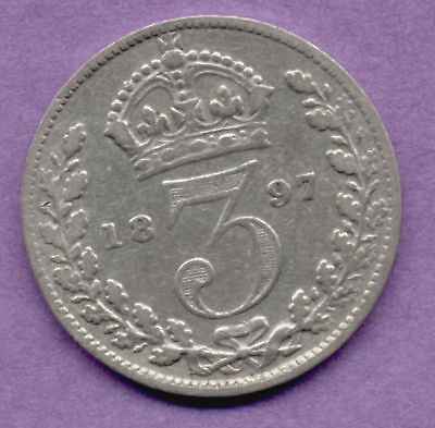 Great Britain 3 Pence 1897 Old Silver British UK Coin