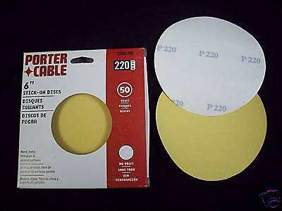 """6"""" NH stick on sanding Discs 220Grit 50pk Porter Cable"""