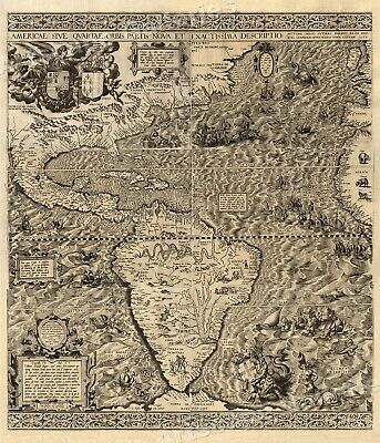 """The New World"" 1562 Historic Exploration Map - 20x24"