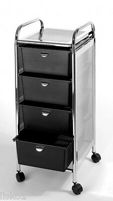 Pibbs D27 4-DRAWER STORAGE CART  WHEELS STAINLESS STEEL TOP & SIDES