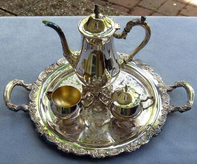 Silverplate Oneida Du Maurier Roses 4 Pc Coffee Set XLT