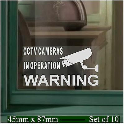 10 x SMALL CCTV Camera Operation Security Warning Window Stickers-Internal Signs