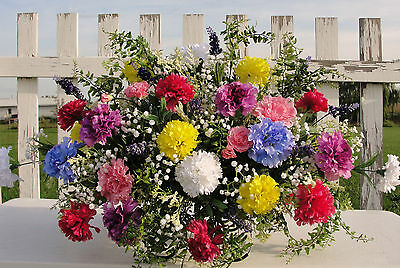 Christmas Holiday Cemetery Memorial Grave Flowers Red Carnations Baby's Breath