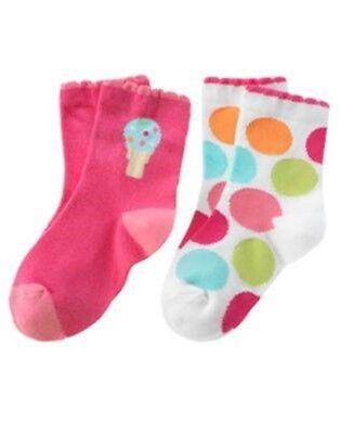 NWT Gymboree Popsicle Party 6 9 12 Pink Socks Polka Dots Blue Ice Cream Girls