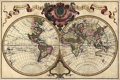 Map of the Known World c1720 Map Art Print - 24x36