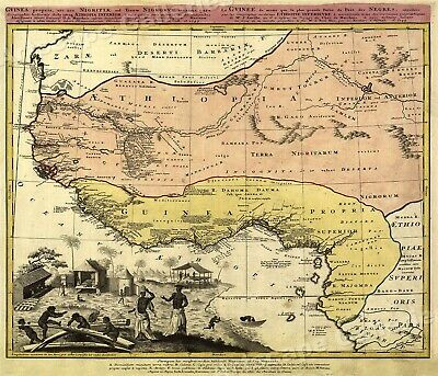 1743 West African Old World Map Guinea Ethiopia - 24x28