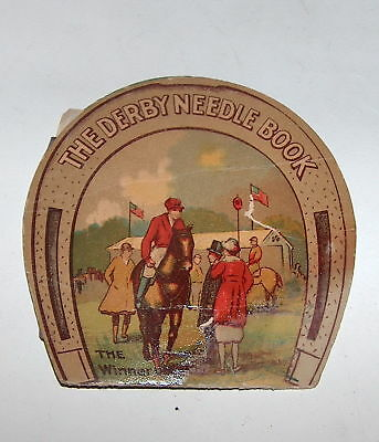 Antique Vintage German Derby Sewing Needles Book Booklet With Horse Rider